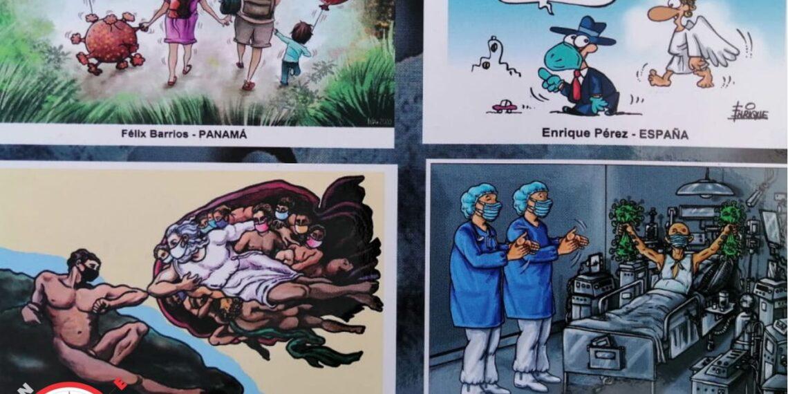 Obras de: arriba: a la izq: Feliz Barrios - Panamá; a la der: Enrique Pérez - España; abajo: izq: Enrique A Lacoste - Cuba; der: Raúl de la Nuez - USA.